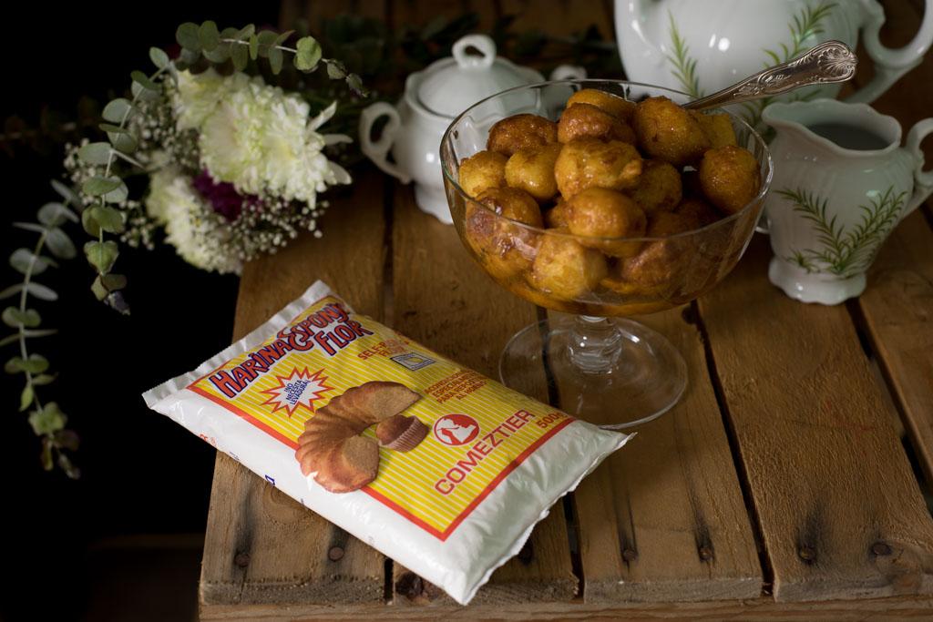 buñuelos con harina esponja flor de Comeztier