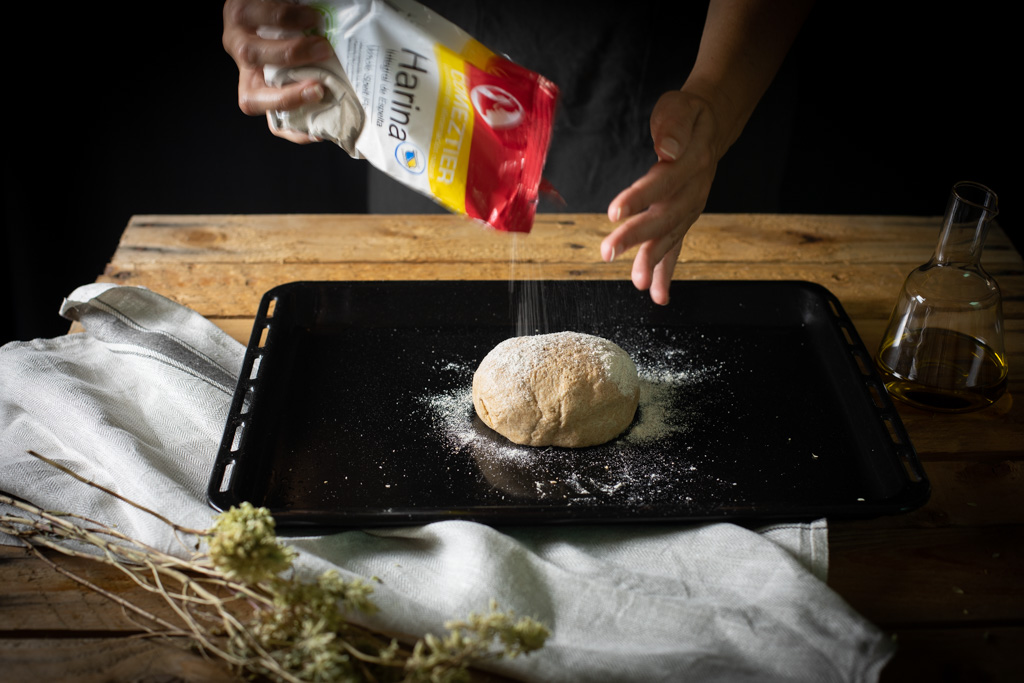 masa de pizza casera con harina integral de espelta Comeztier