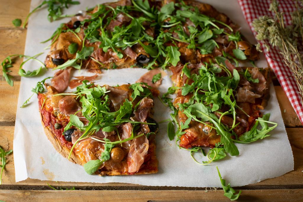 pizza con masa integral de espelta