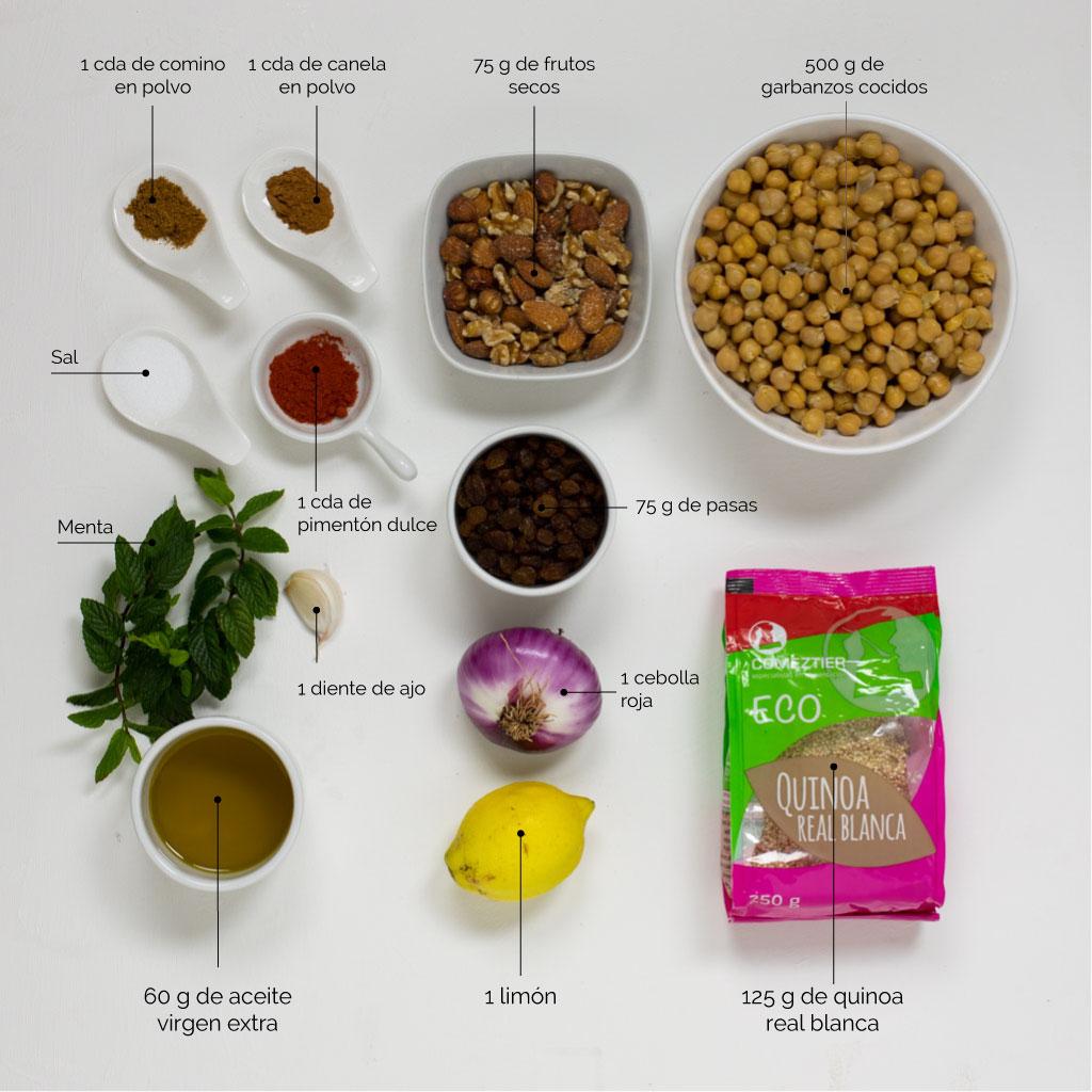 ingredientes-ensalada quinoa y garbanzos